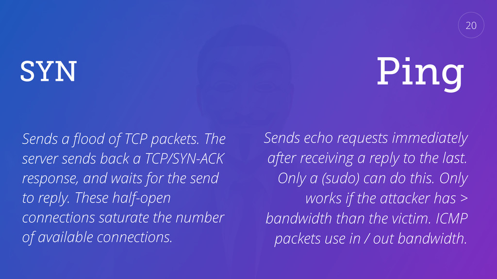 SYN Sends a flood of TCP packets. The server sen...