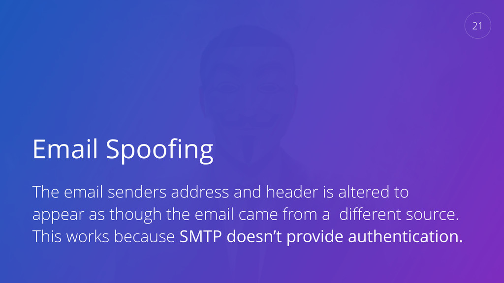 Email Spoofing The email senders address and hea...