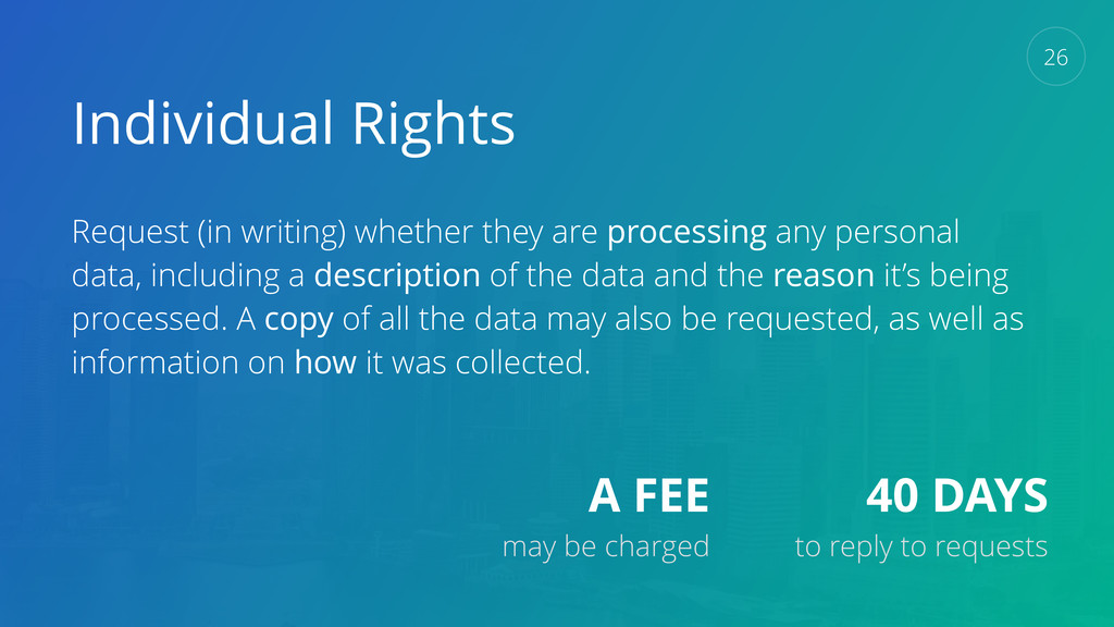 Individual Rights Request (in writing) whether ...