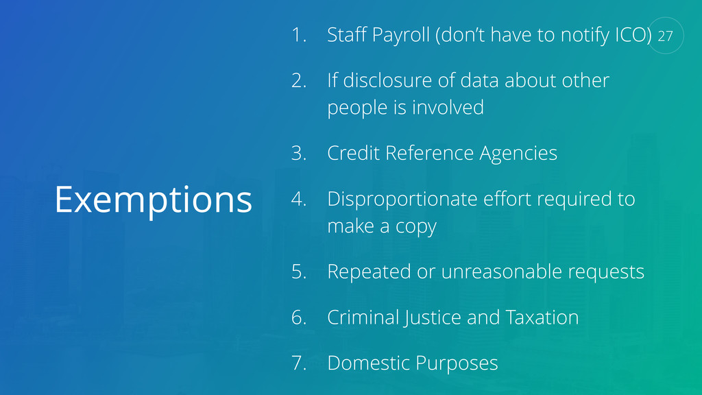 Exemptions 1. Staff Payroll (don't have to notif...