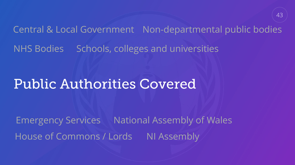 Public Authorities Covered 43 Central & Local G...