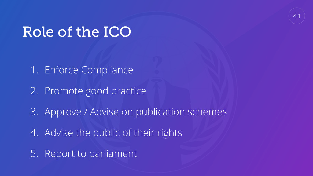 Role of the ICO 1. Enforce Compliance 2. Promot...