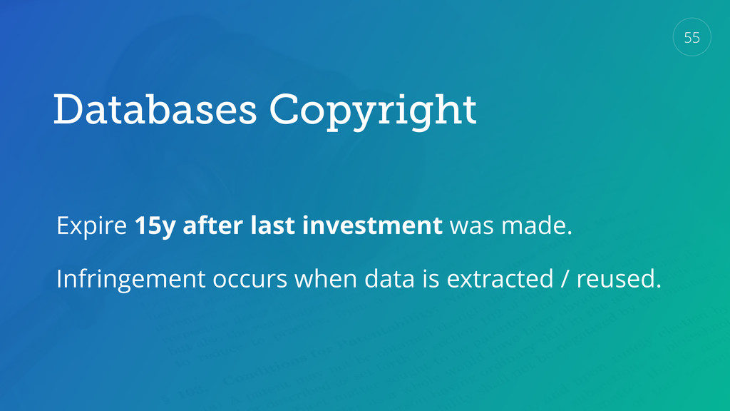 Databases Copyright Expire 15y after last inves...