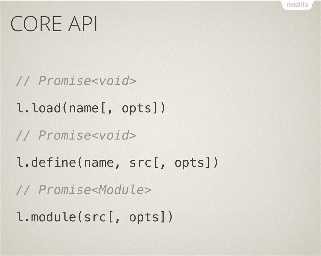 CORE API // Promise<void> l.load(name[, opts]) ...