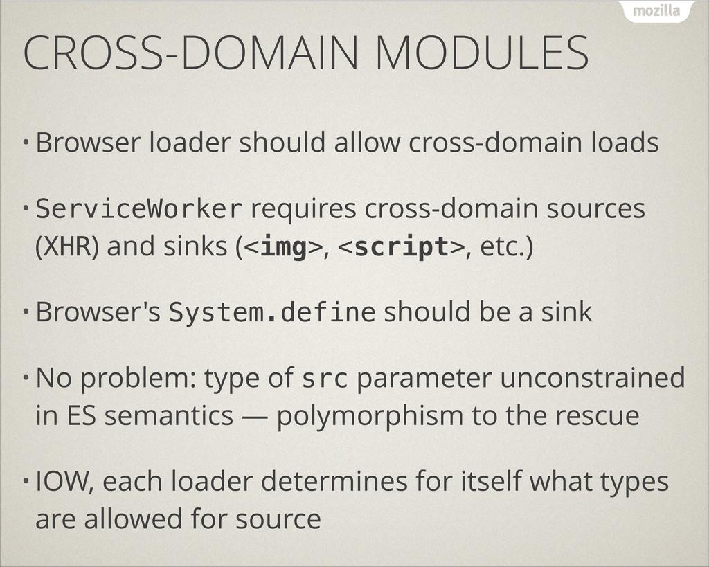 CROSS-DOMAIN MODULES • Browser loader should al...