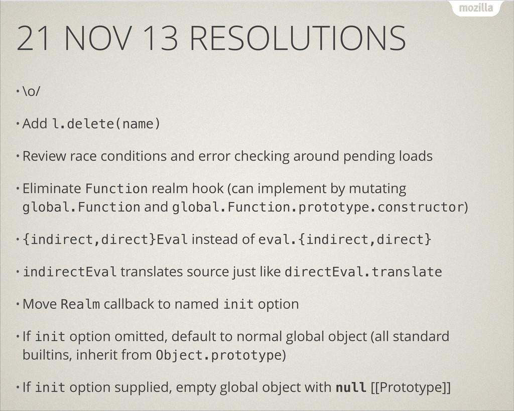 21 NOV 13 RESOLUTIONS • \o/ • Add l.delete(name...
