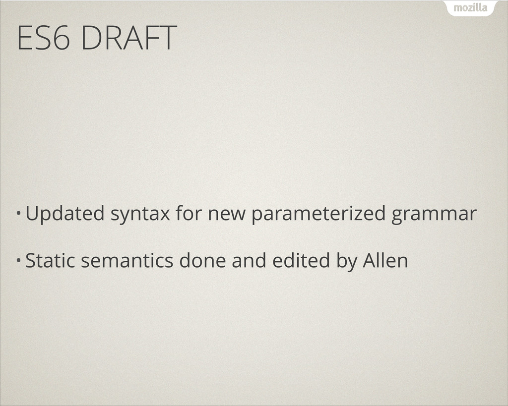 ES6 DRAFT • Updated syntax for new parameterize...