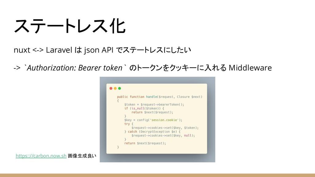 ステートレス化 nuxt <-> Laravel は json API でステートレスにしたい...