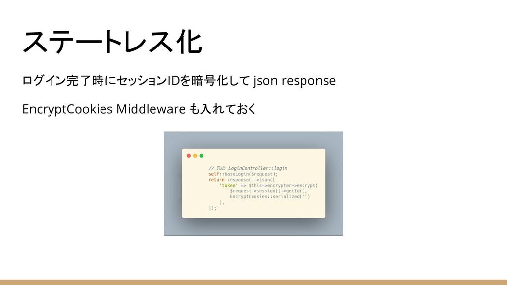ステートレス化 ログイン完了時にセッションIDを暗号化して json response Enc...