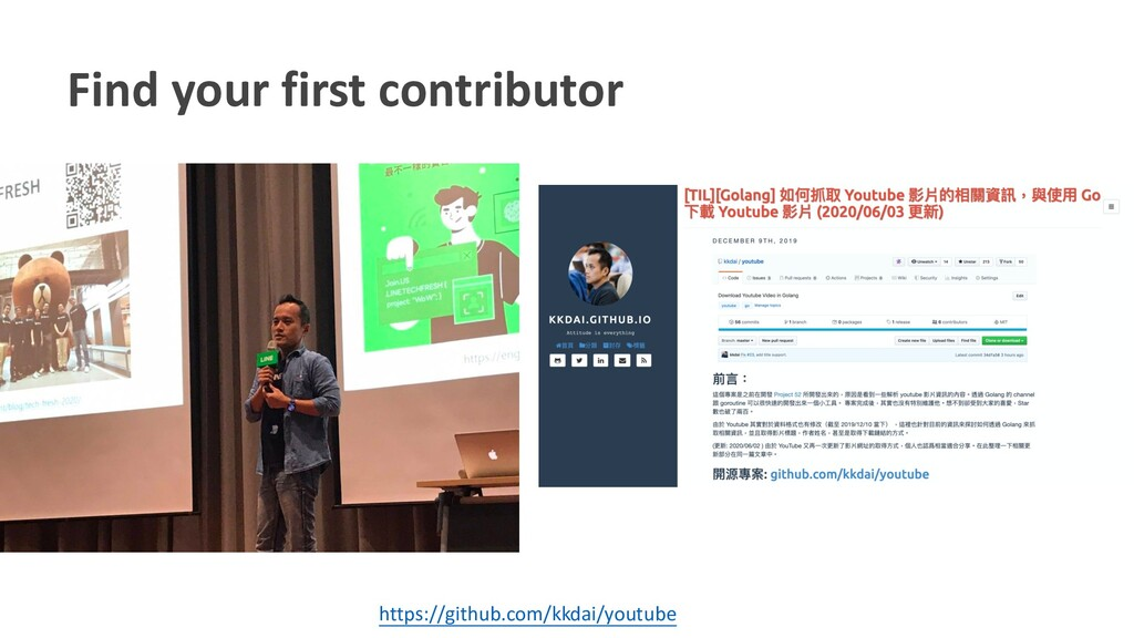 Find your first contributor https://github.com/...