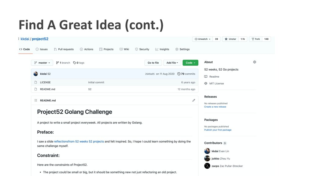 Find A Great Idea (cont.)