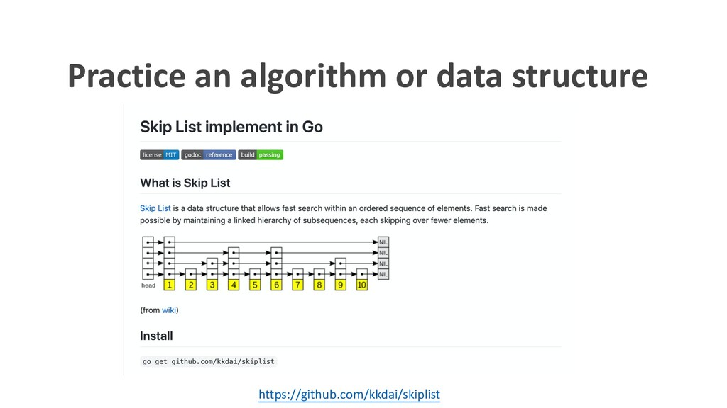 Practice an algorithm or data structure https:/...