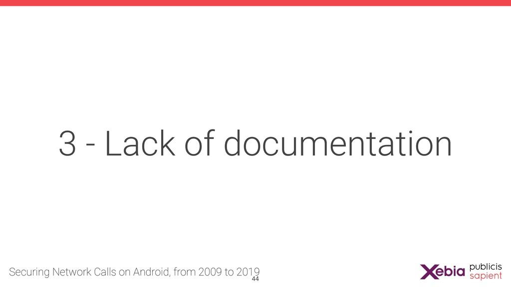3 - Lack of documentation !44