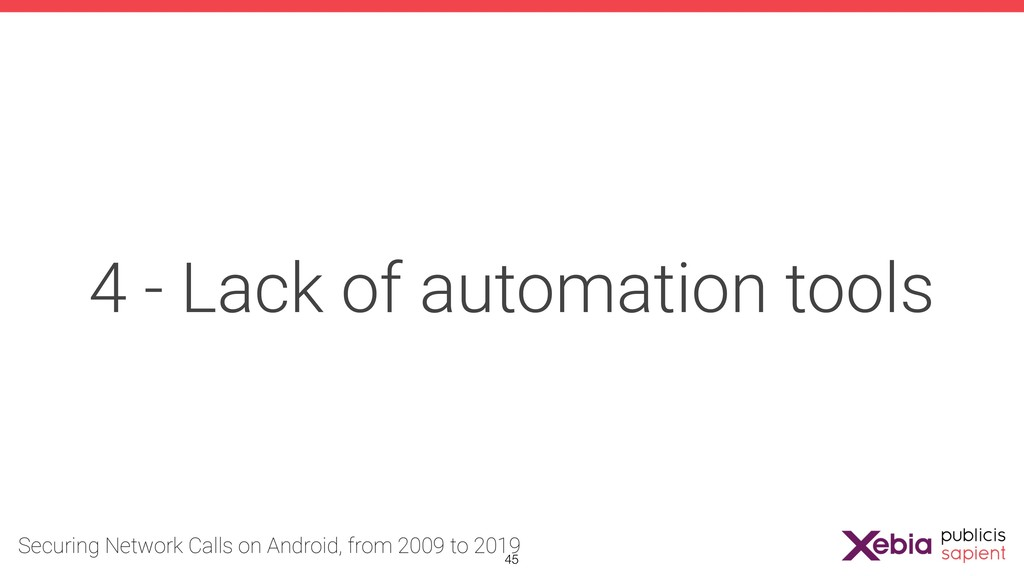 4 - Lack of automation tools !45