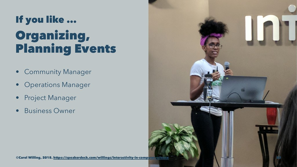 If you like ... Organizing, Planning Events • C...