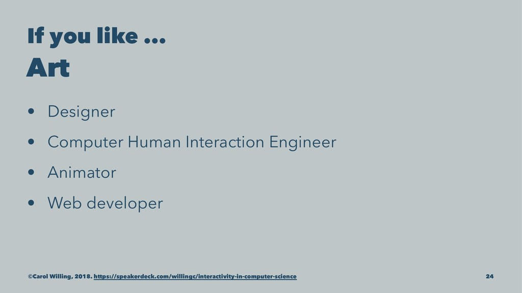 If you like ... Art • Designer • Computer Human...