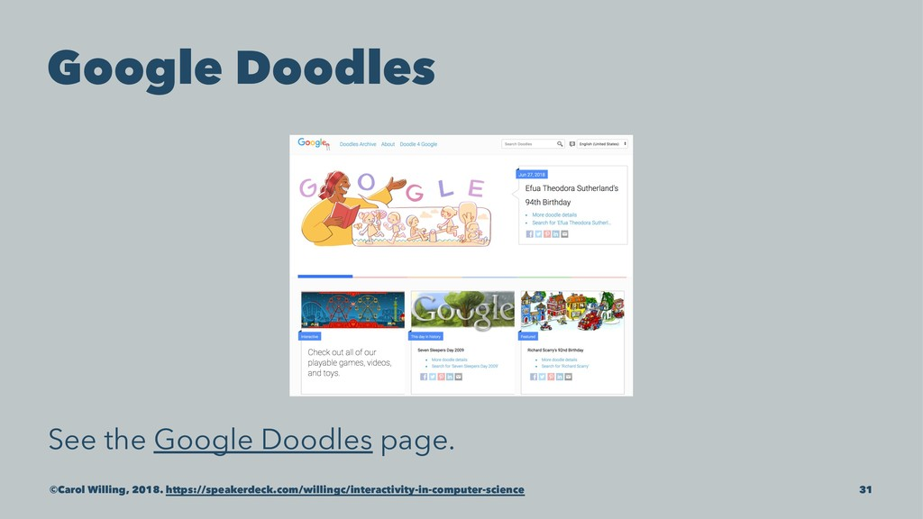 Google Doodles See the Google Doodles page. ©Ca...