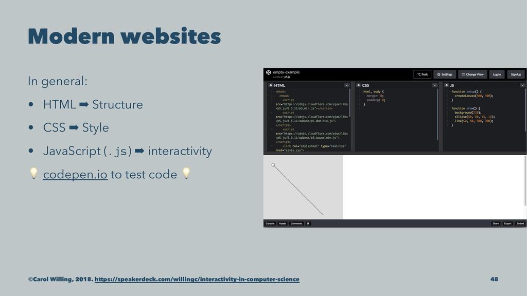 Modern websites In general: • HTML ➡ Structure ...