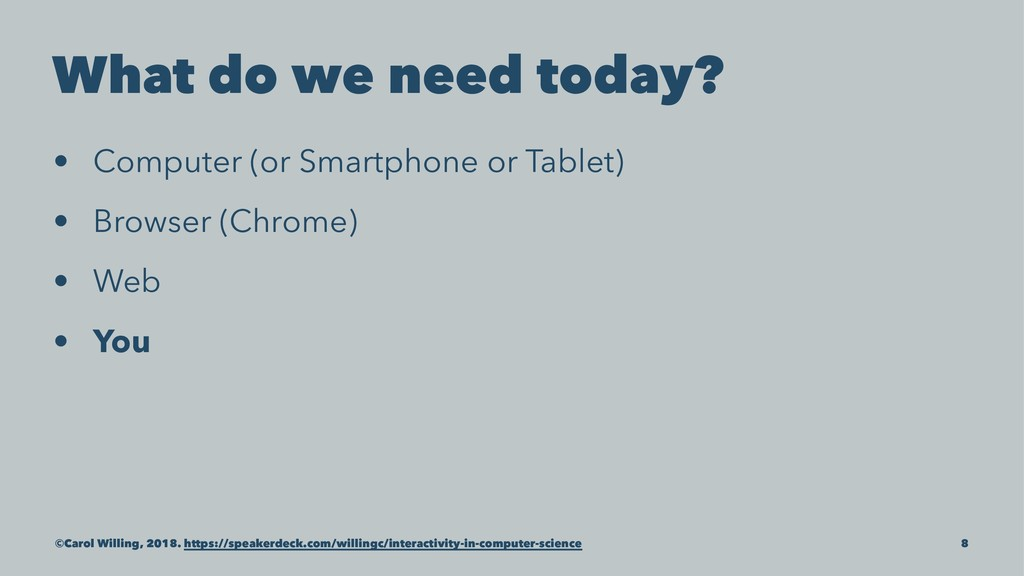 What do we need today? • Computer (or Smartphon...