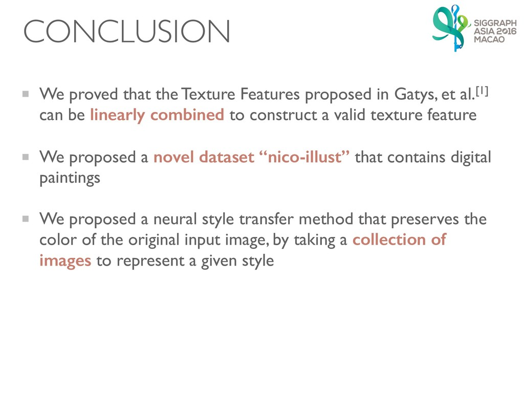 CONCLUSION We proved that the Texture Features ...