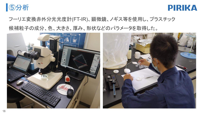 ⑤分析 18 フーリエ変換赤外分光光度計(FT-IR)、顕微鏡、ノギス等を使用し、プラスチック...