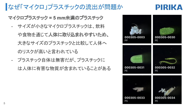なぜ「マイクロ」プラスチックの流出が問題か 5 マイクロプラスチック = 5 mm未満のプラス...