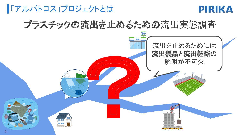 「アルバトロス」プロジェクトとは ? プラスチックの流出を止めるための流出実態調査 流出を止め...