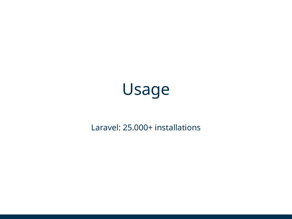 Usage Laravel: 25.000+ installations