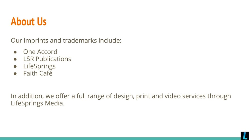 About Us Our imprints and trademarks include: ●...