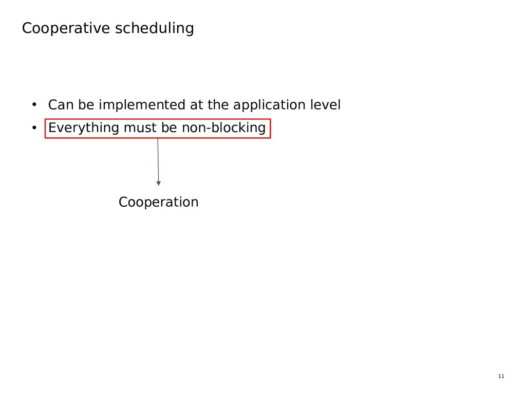 11 Cooperative scheduling • Can be implemented ...