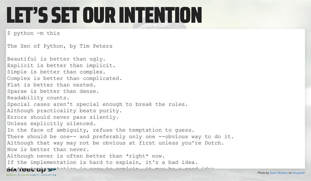 LET'S SET OUR INTENTION Photo by on $ python -m...