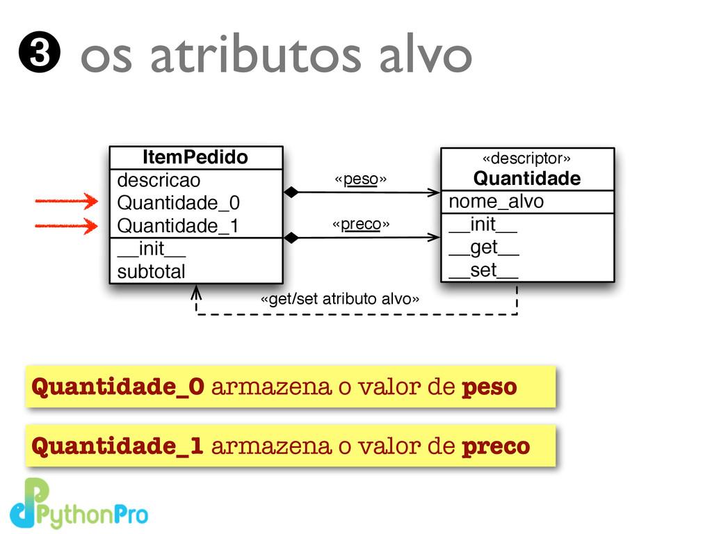 ➌ os atributos alvo Quantidade_0 armazena o val...