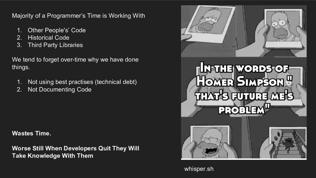 whisper.sh Majority of a Programmer's Time is W...