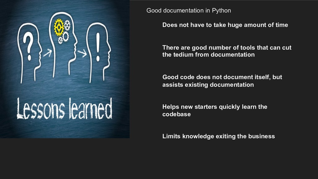 Good documentation in Python Does not have to t...