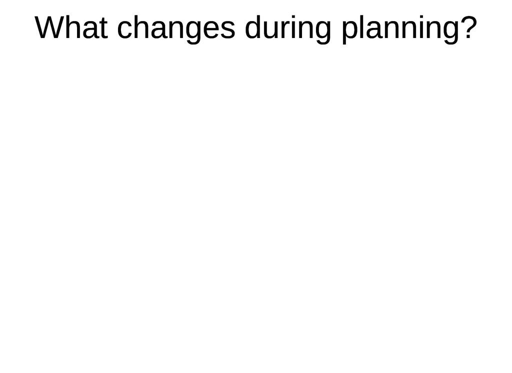 What changes during planning? What changes duri...