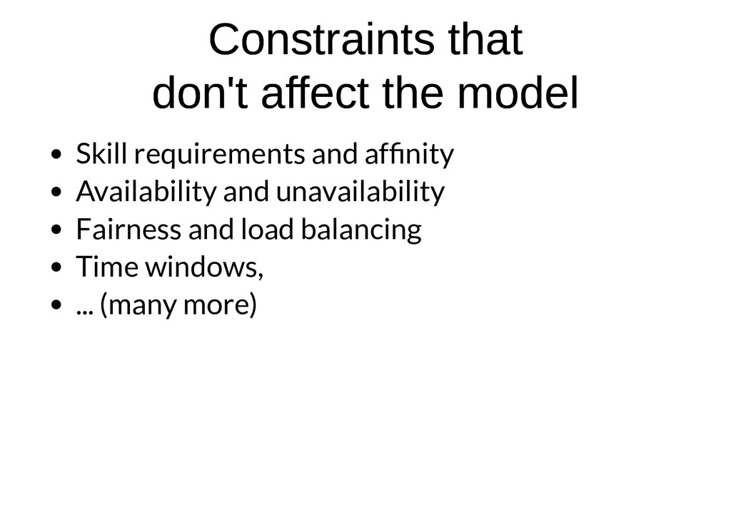 Constraints that Constraints that don't affect ...