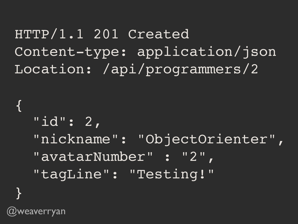 HTTP/1.1 201 Created! Content-type: application...