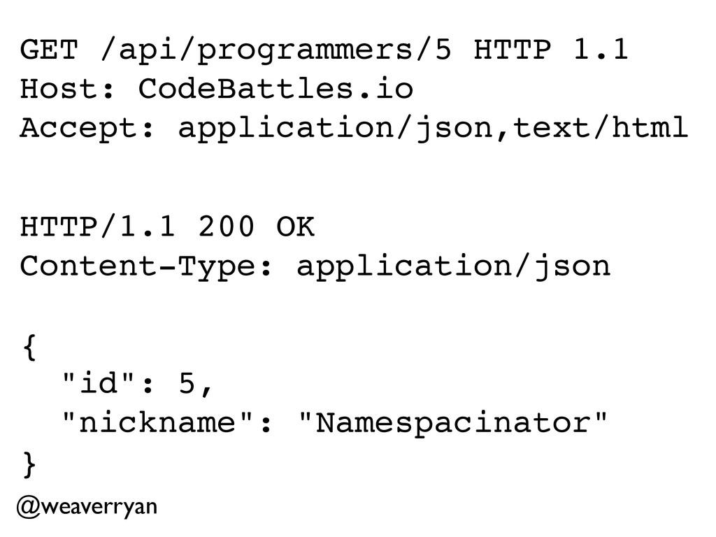 @weaverryan GET /api/programmers/5 HTTP 1.1! Ho...