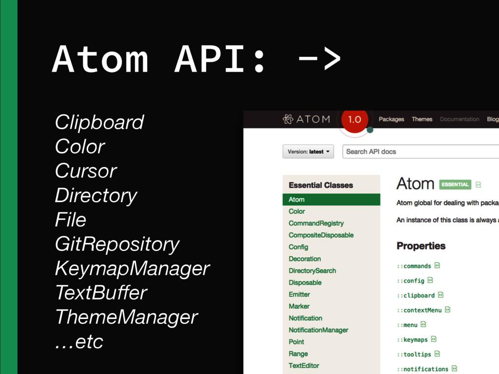 Atom API: -> Clipboard Color Cursor Directory F...