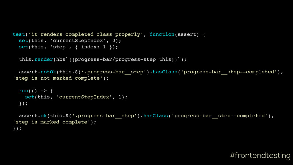 #frontendtesting test('it renders completed cla...