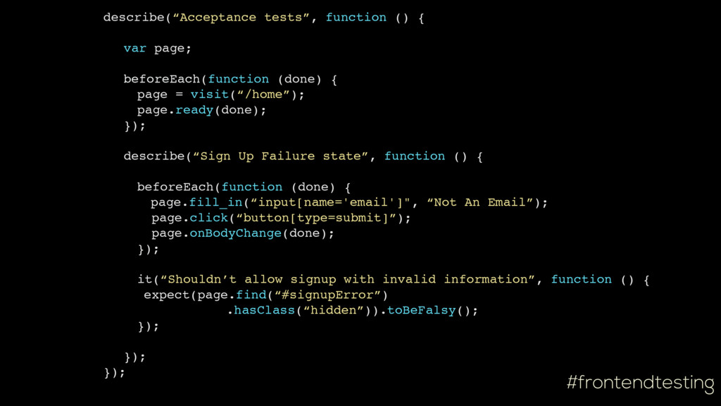 "#frontendtesting describe(""Acceptance tests"", f..."