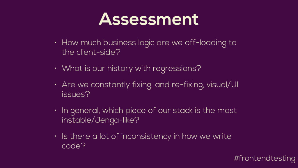 #frontendtesting Assessment • How much business...