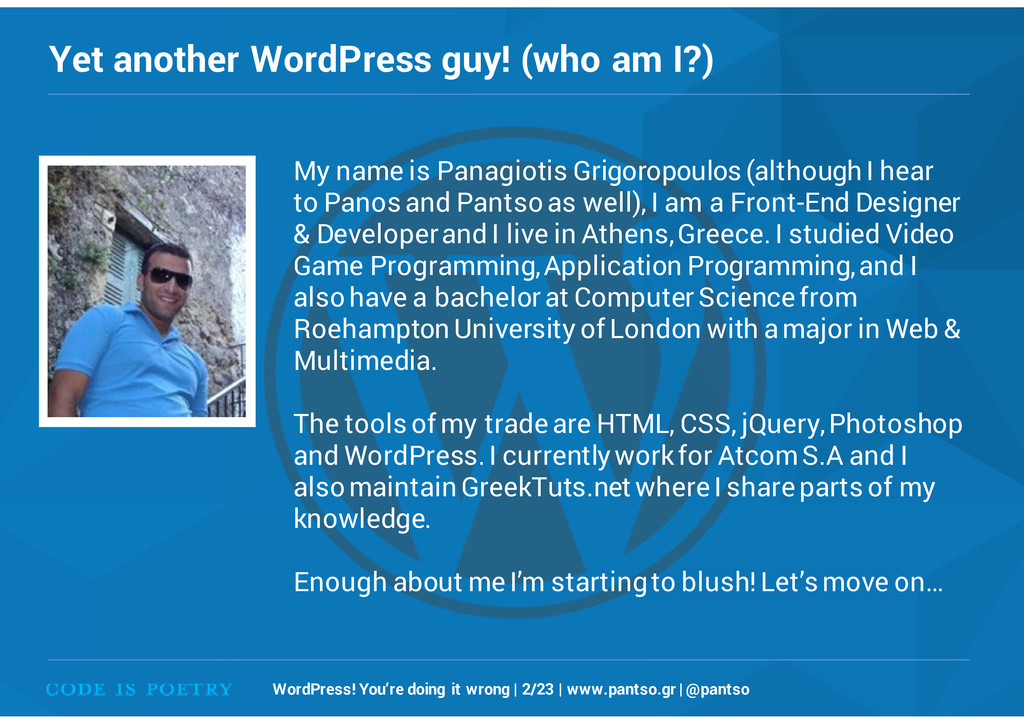 Yet another WordPress guy! (who am I?) WordPres...