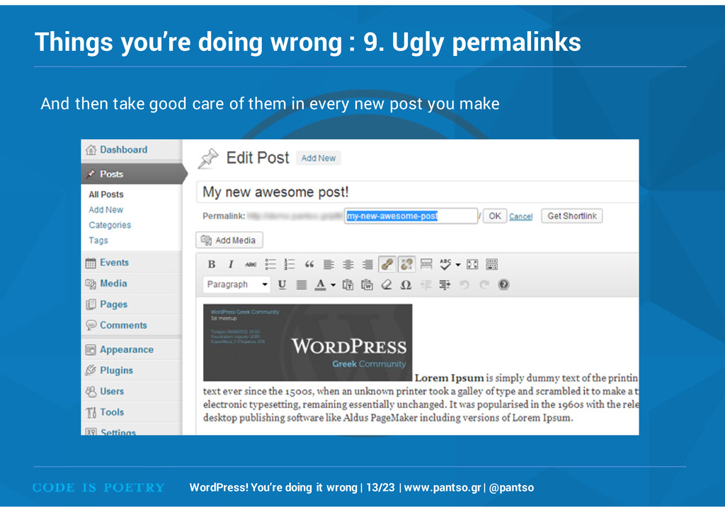 Things you're doing wrong : 9. Ugly permalinks ...