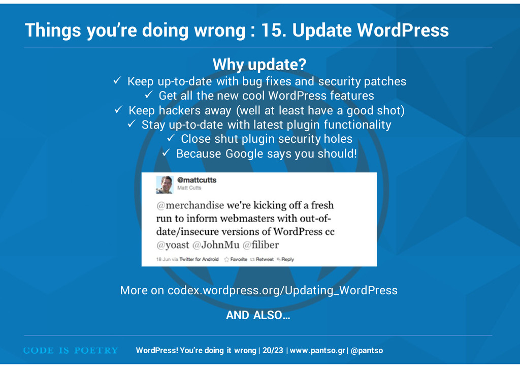 Things you're doing wrong : 15. Update WordPres...