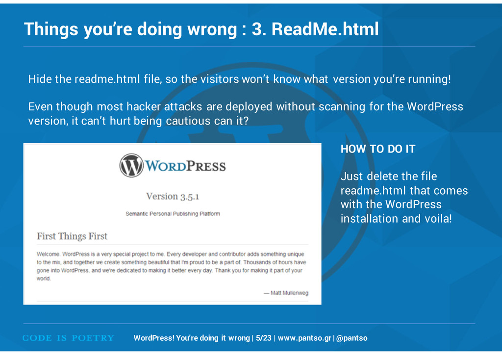 Things you're doing wrong : 3. ReadMe.html Word...