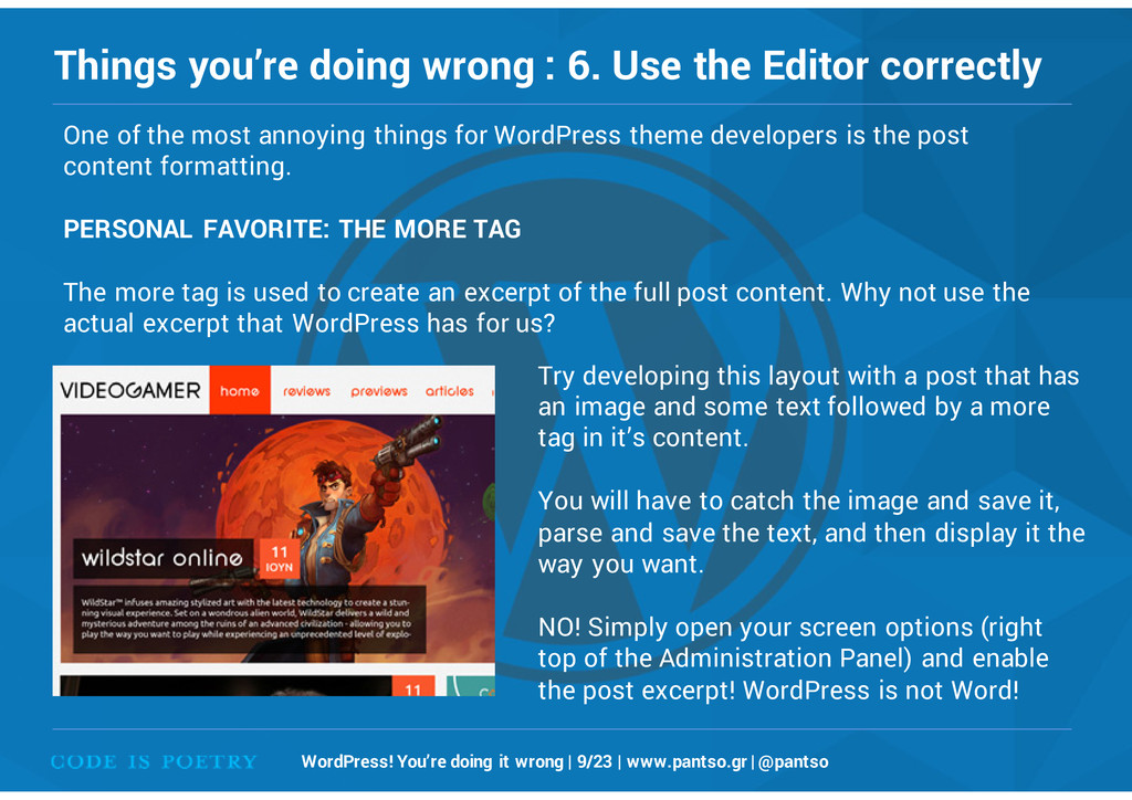 Things you're doing wrong : 6. Use the Editor c...