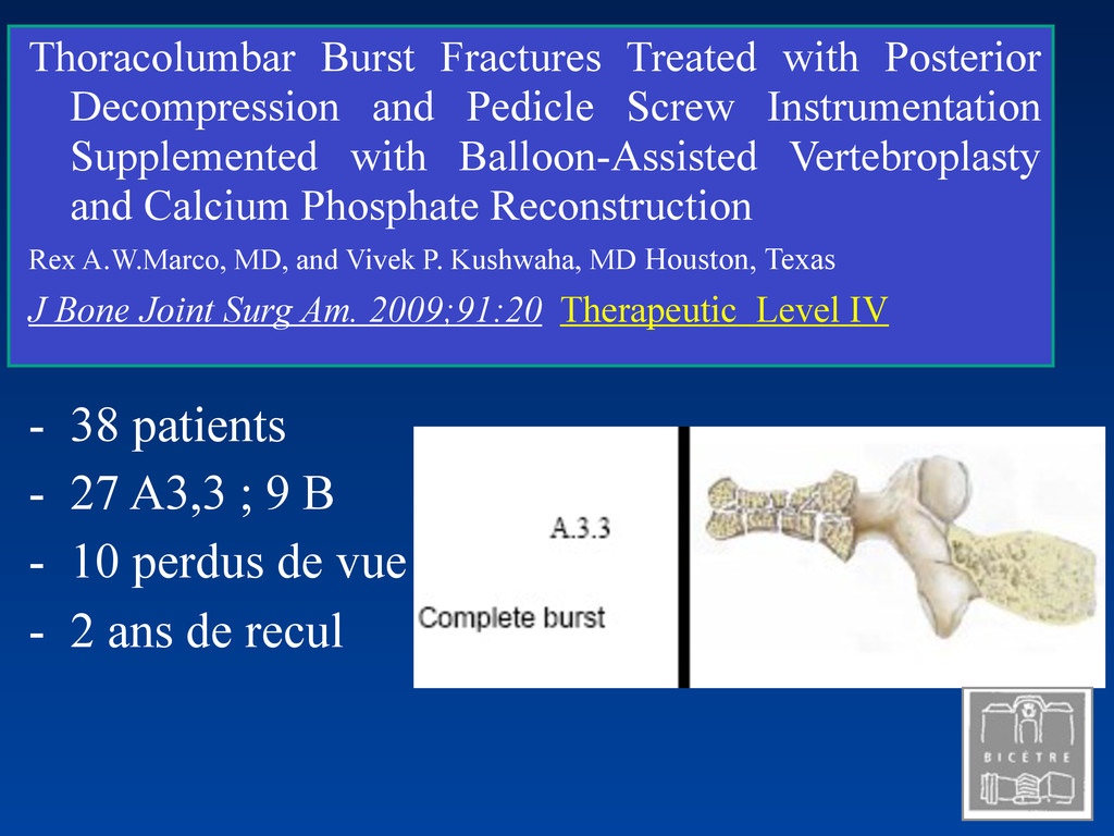 Thoracolumbar Burst Fractures Treated with Post...
