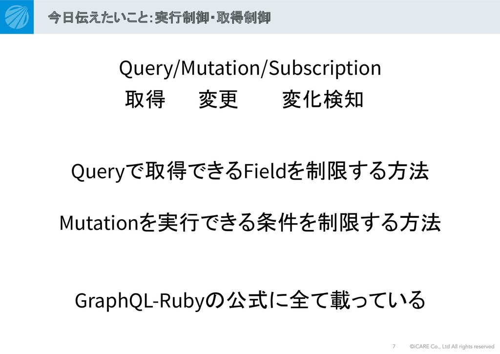 Query/Mutation/Subscription Queryで取得できるFieldを制限...