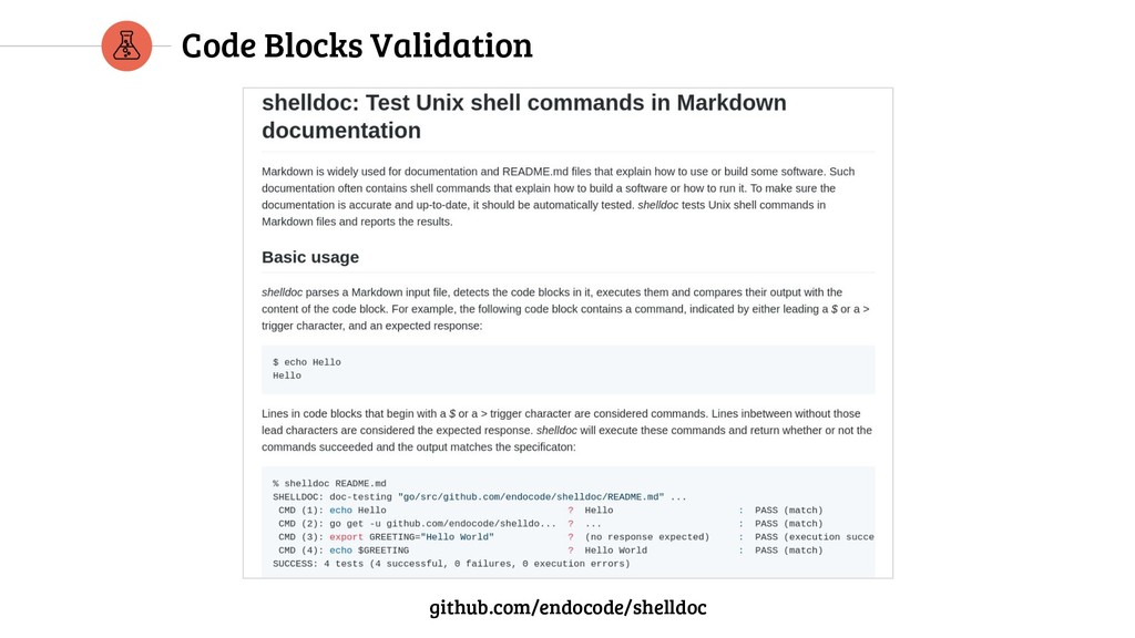 Code Blocks Validation github.com/endocode/shel...